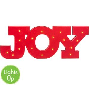 Light up led joy block letter sign 16in x 6in party city for Lighted letters joy