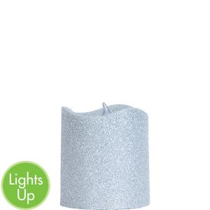 Glitter Silver Pillar Flameless LED Candle