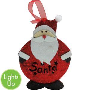 Light-Up Glitter Santa Ornament