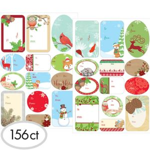 Woodland Christmas Adhesive Gift Tags 156ct