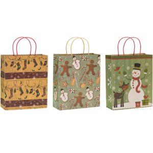 Kraft Christmas Gift Bags 3ct