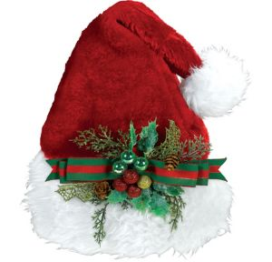 Holly Bow Santa Hat Deluxe