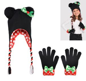 Child Christmas Minnie Mouse Peruvian Hat & Gloves