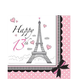 Pink Paris 13th Birthday Lunch Napkins 16ct