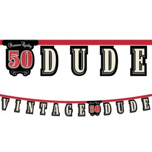 Vintage Dude 50th Birthday Letter Banner