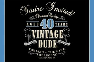 Vintage Dude 40th Birthday Invitations 8ct