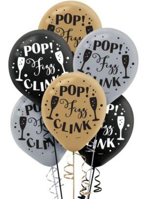 Black, Gold & Silver Pop Fizz Clink Balloons 15ct