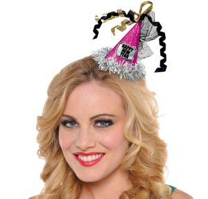 Clip-On Prismatic Pink Happy New Year Mini Party Hat