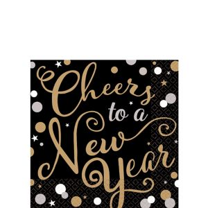 Cheers to a New Year Beverage Napkins 36ct - Bubbly Celebration