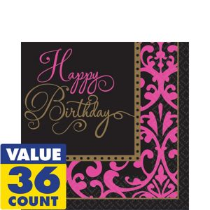 Damask Birthday Lunch Napkins 36ct - Fabulous Celebration