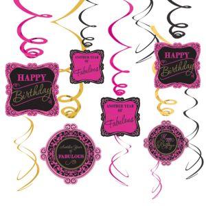 Fabulous Birthday Swirl Decorations 12ct