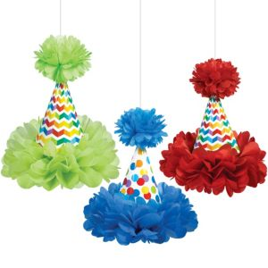 Rainbow Dot & Chevron Fluffy Decorations 3ct