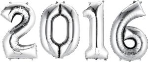 Silver 2016 Number Balloons 4pc