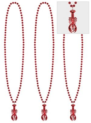 Crawfish Pendant Bead Necklaces 3ct