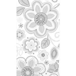 Silver Flower Embroidery Guest Towels 16ct