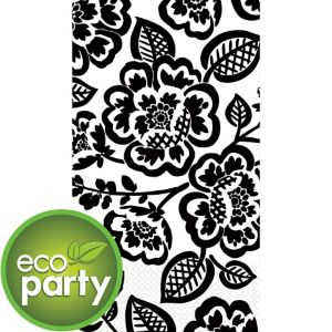 Eco-Friendly British Black Floral Guest Towels 16ct