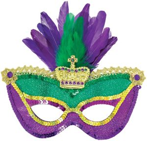Sequin Feather Mardi Gras Mask