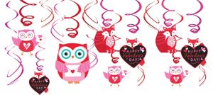 Woodland Friends Happy Valentine's Day Swirl Decorations 12ct