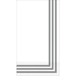 Silver Classic Stripe Premium Guest Towels 16ct