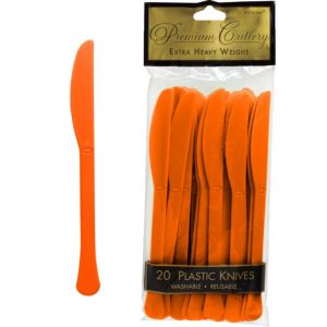 Orange Premium Plastic Knives 20ct