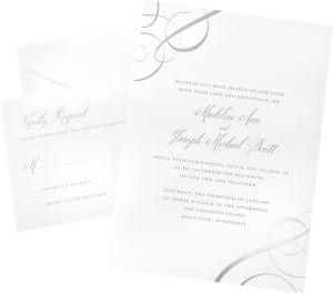 Metallic Silver Swirl Printable Wedding Invitations Kit 50ct