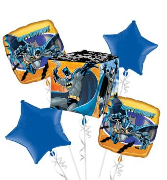 Batman Birthday Balloon Bouquet 5pc - Cubez