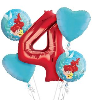 Little Mermaid 4th Birthday Balloon Bouquet 5pc
