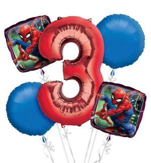 Spider-Man 3rd Birthday Balloon Bouquet 5pc