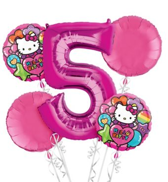 Rainbow Hello Kitty 5th Birthday Balloon Bouquet 5pc