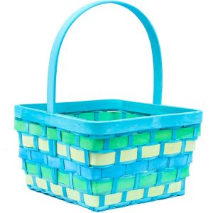 Large Blue Wood Easter Basket