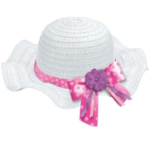 Child White Woven Easter Bonnet Deluxe