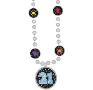 Prismatic 21st Birthday Pendant Bead Necklace