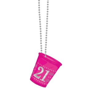 Pink 21st Birthday Shot Glass Necklace