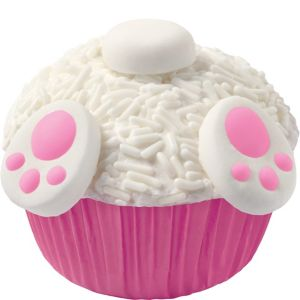 Easter Bunny Tail Cupcake Decorating Kit for 12