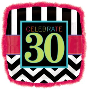 30th Birthday Balloon - Boa Square Chevron