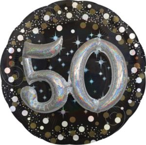 50th Birthday Balloon - 3D Sparkling Celebration