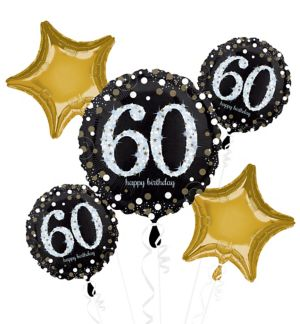 60th Birthday Balloon Bouquet 5pc - Sparkling Celebration