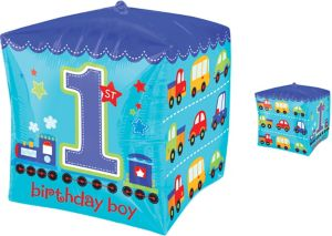 Boy 1st Birthday Balloon - Cubez All Aboard
