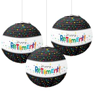 Happy Retirement Celebration Paper Lanterns 3ct