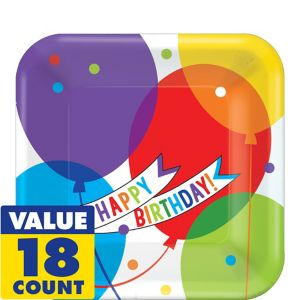 Balloon Bash Birthday Dessert Plates 18ct