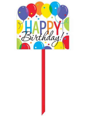 Rainbow Balloon Bash Birthday Yard Sign