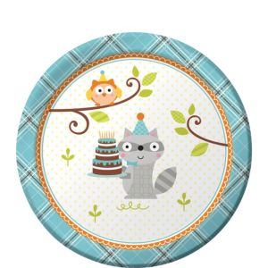 Boy Birthday Dessert Plates 8ct - Happi Woodland