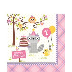 Girl 1st Birthday Lunch Napkins 16ct - Happi Woodland
