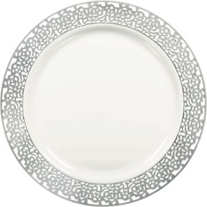 White Silver Lace Border Premium Plastic Dinner Plates 10ct