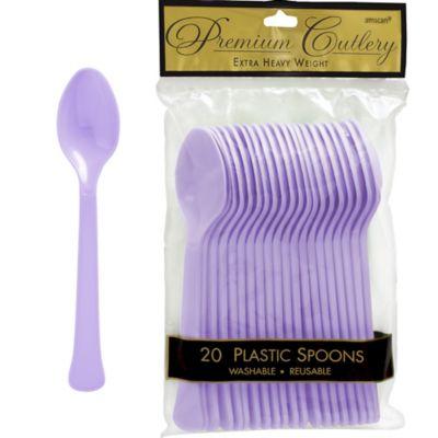Lavender Premium Plastic Spoons 20ct