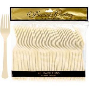 Vanilla Cream Premium Plastic Forks 48ct
