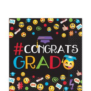 Smiley Graduation Lunch Napkins 125ct