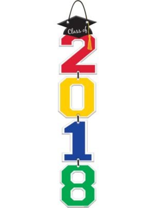 Multicolor Graduation Class of 2017 Stacked Sign
