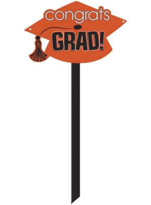Orange Graduation Yard Sign - Congrats Grad