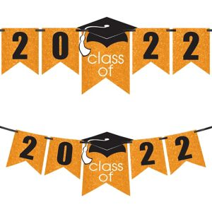 Glitter Orange Graduation Year Banner Kit - Congrats Grad